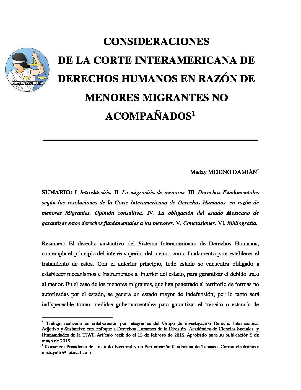 CONSIDERACIONES DE LA CORTE INTERAMERICANA DE DERECHOS HUMANOS EN RAZÓN DE MANORES MIGRANTES NO ACOMPAÑADOS. Maday Merino Damián.