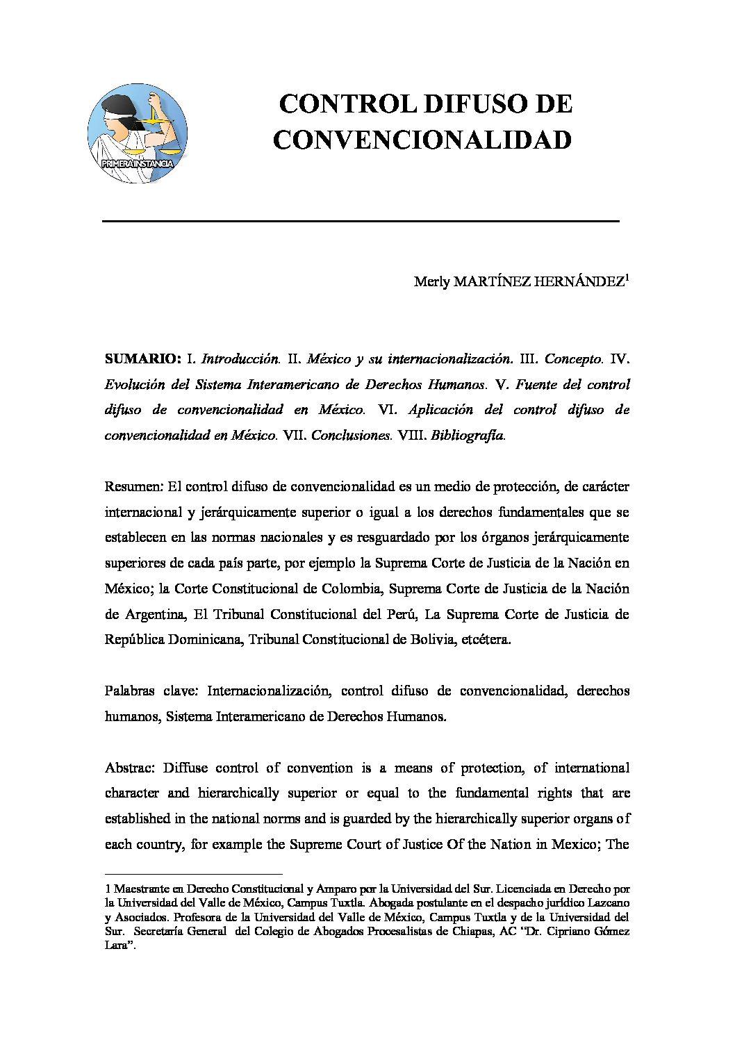 CONTROL DIFUSO DE CONVENCIONALIDAD, Merly Martínez Hernández