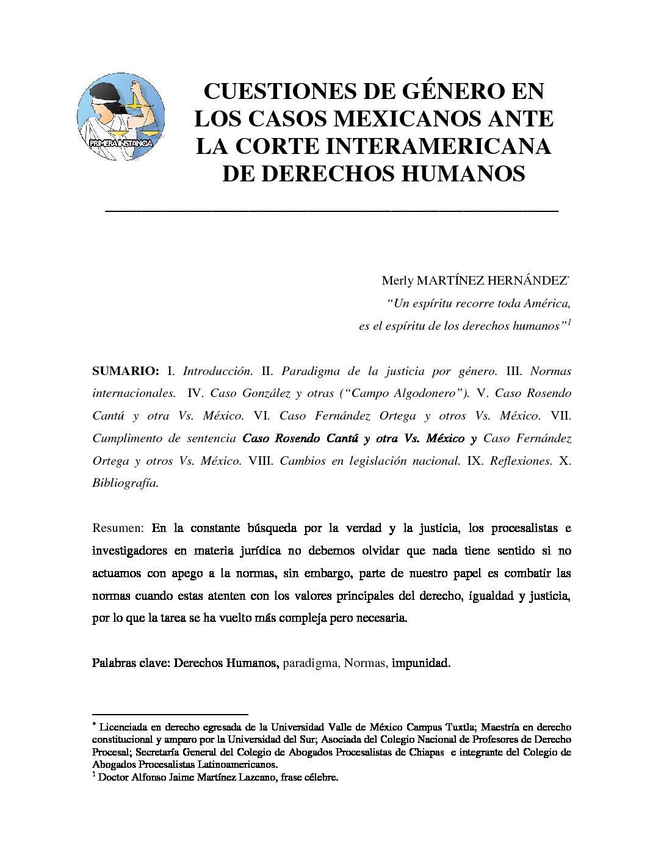 CUESTIONES DE GÉNERO EN LOS CASOS MEXICANOS ANTE LA CORTE INTERAMERICANA DE DERECHOS HUMANOS. Merly Martínez Hernández