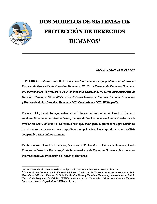 DOS MODELOS DE SISTEMAS DE PROTECCIÓN DE DERECHOS HUMANOS. Alejandra Díaz Alvarado.