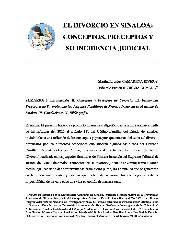 EL DIVORCIO EN SINALOA. CONCEPTOS, PRECEPTOS Y SU INCIDENCIA JUDICIAL. Martha L. Camarena Rivera y Eduardo F. Herrera Olmeda.