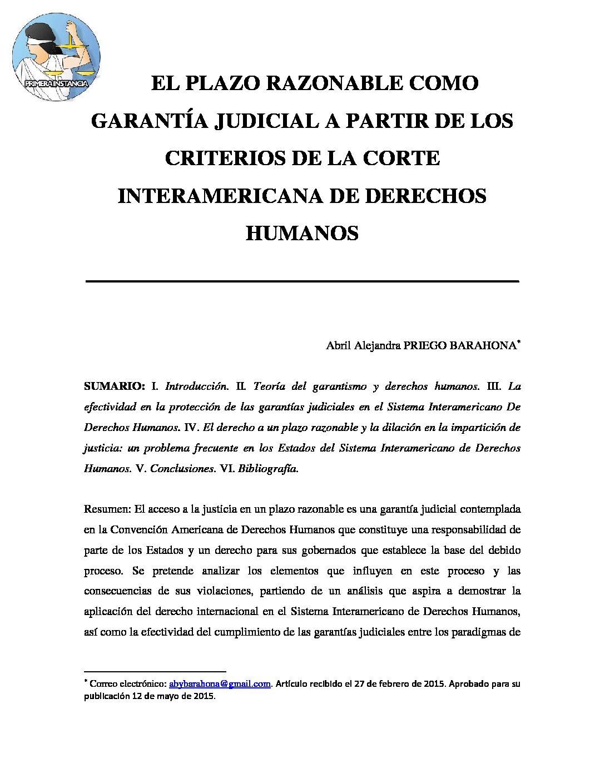 EL PLAZO RAZONABLE COMO GARANTÍA JUDICIAL A PARTIR DE LOS CRITERIOS DE LA CIDH. Abril Alejandra Priego Barahona