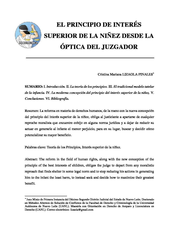 EL PRINCIPIO DE INTERÉS SUPERIOR DE LA NIÑEZ DESDE LA ÓPTICA DEL JUZGADOR. Cristina Mariana Lizaola Pinales.