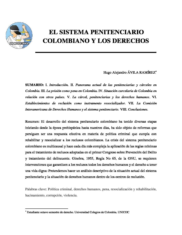 EL SISTEMA PENITENCIARIO COLOMBIANO Y LOS DERECHOS. Hugo Alejandro Ávila Ramírez.