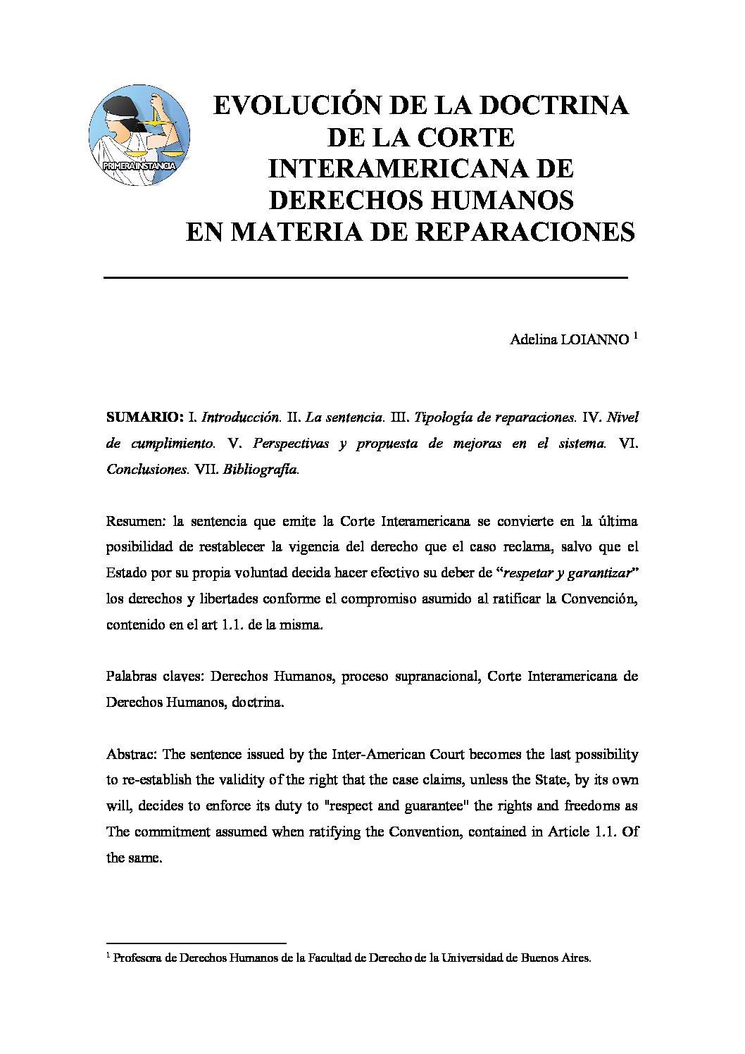 EVOLUCIÓN DE LA DOCTRINA DE LA CORTE INTERAMERICANA DE DERECHOS HUMANOS EN MATERIA DE REPARACIONES, Adelina Loianno