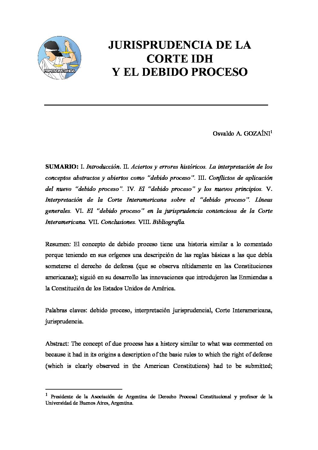 JURISPRUDENCIA DE LA CORTE IDH Y EL DEBIDO PROCESO, Osvaldo A. Gozaíni