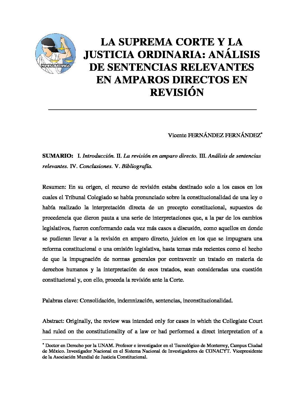 LA SUPREMA CORTE Y LA JUSTICIA ORDINARIA. ANÁLISIS DE SENTENCIAS RELEVANTES EN AMPAROS DIRECTOS EN REVISIÓN. Vicente Fernández Fernández.