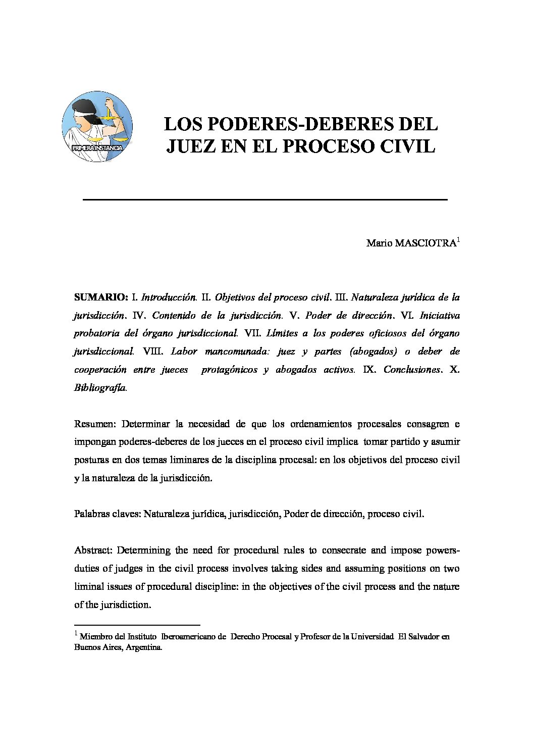 LOS PODERES-DEBERES DEL JUEZ EN EL PROCESO CIVIL, Mario Masciotra