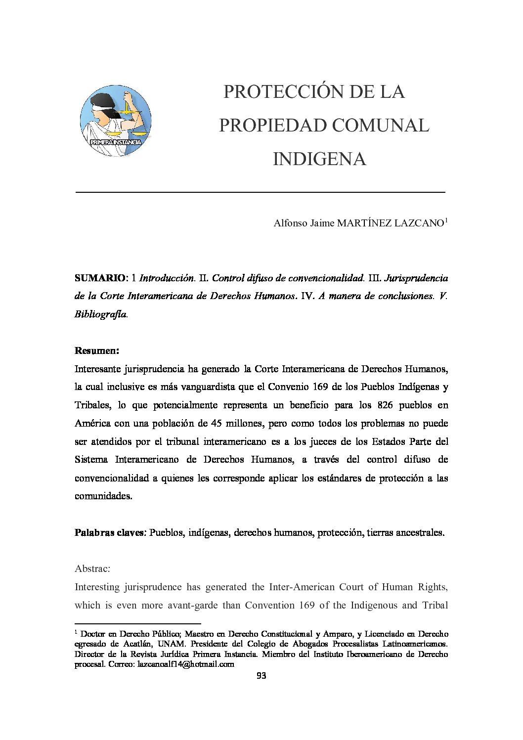PROTECCIÓN DE LA PROPIEDAD COMUNAL INDÍGENA, Alfonso Jaime Martínez Lazcano