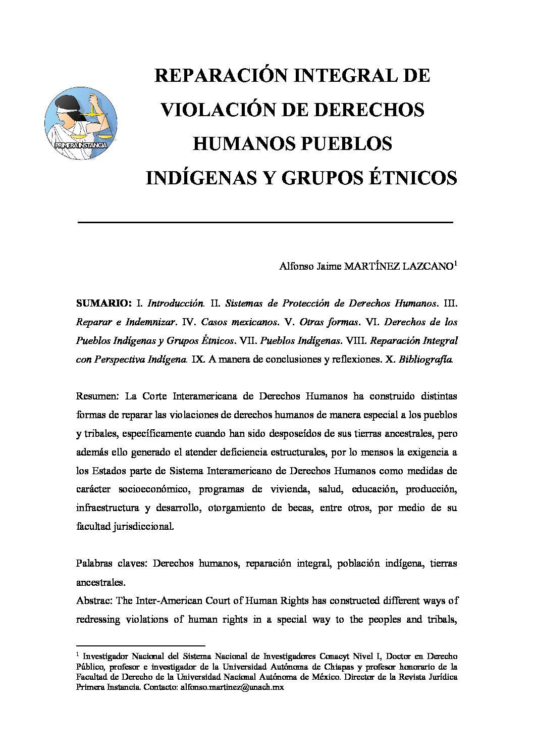 REPARACIÓN INTEGRAL DE VIOLACIÓN DE DERECHOS HUMANOS PUEBLOS INDIGÉNAS Y GRUPOS ÉTNICOS, Alfonso Jaime Martínez Lazcano