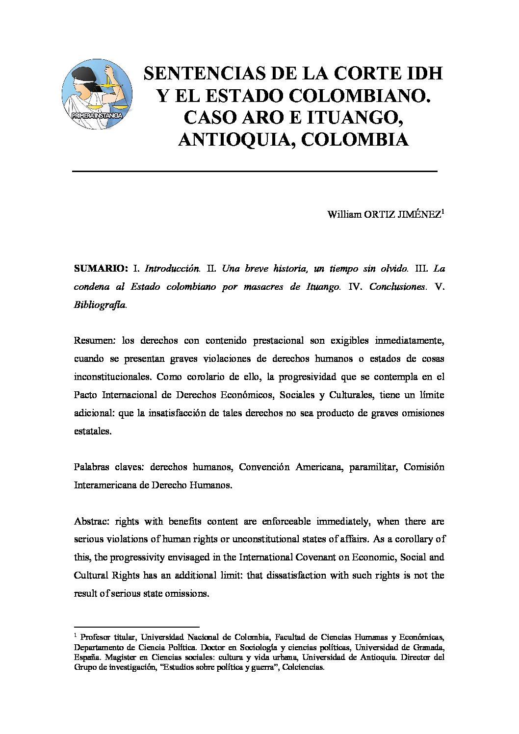 SENTENCIAS DE LA CORTE IDH Y EL ESTADO COLOMBIANO. CASO ARO E ITUANGO, ANTIOQUIA, COLOMBIA, William Ortiz Jiménez