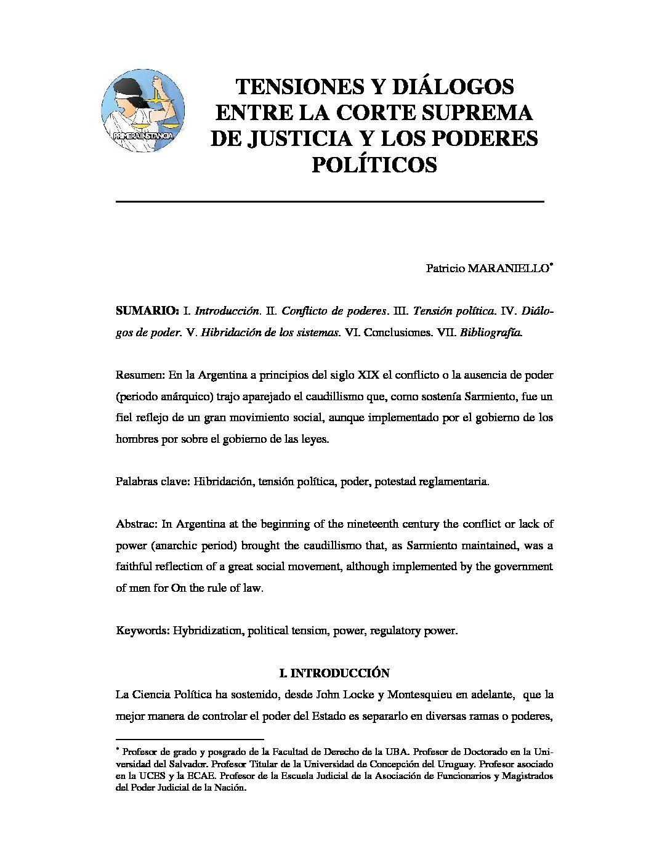 TENSIONES Y DIÁLOGOS ENTRE LA CORTE SUPREMA DE JUSTICIA Y LOS PODERES POLÍTICOS, Patricio Maraniello.