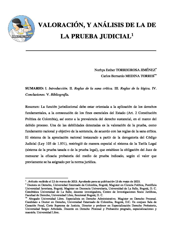 VALORACIÓN Y ANÁLISIS DE LA PRUEBA JUDICIAL. Norhys Esther Torregrosa Jiménez y Carlos Bernanrdo Medina Torres.