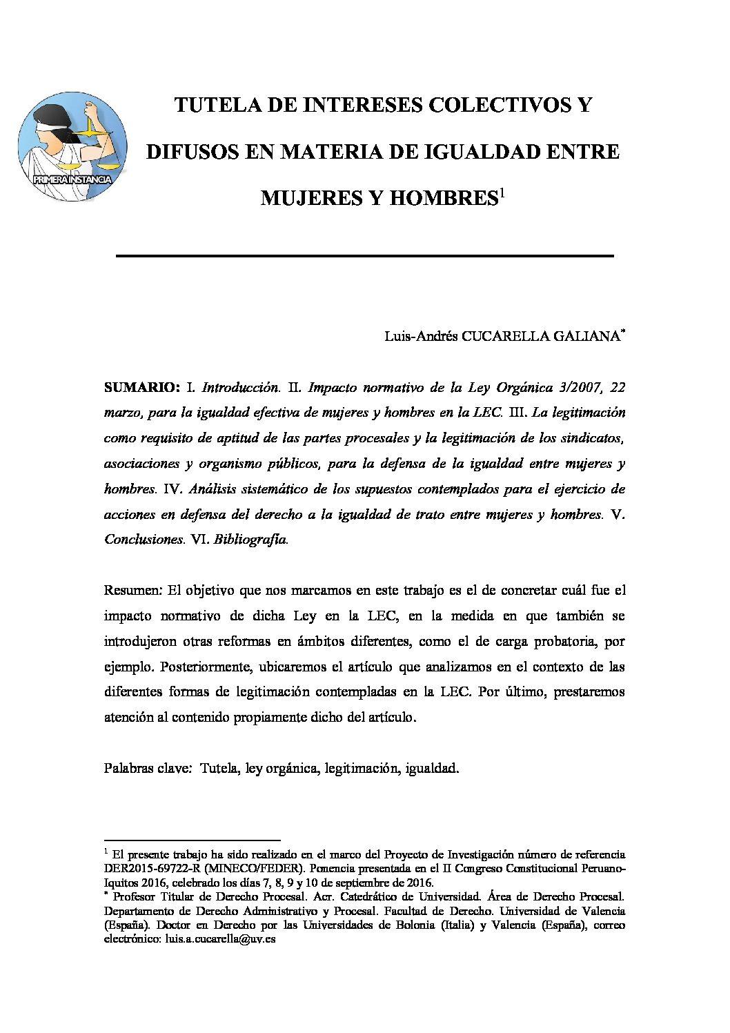 TUTELA DE INTERESES COLECTIVOS Y DIFUSOS EN MATERIA DE IGUALDAD ENTRE MUJERES Y HOMBRES, Luis-Andrés Cucarella Galiana