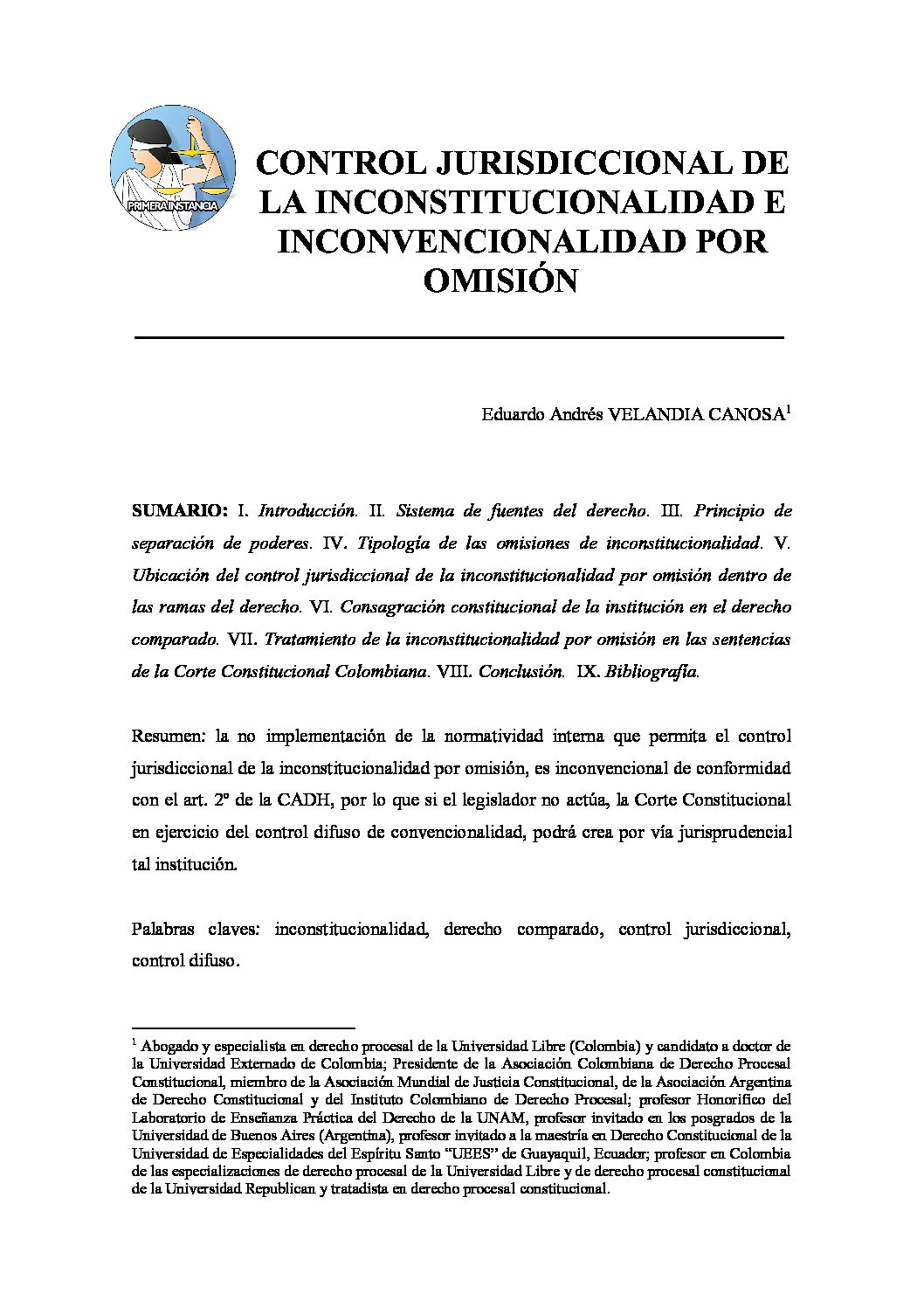 CONTROL JURISDICCIONAL DE LA INCONSTITUCIONALIDAD E INCONVENCIONALIDAD POR OMISIÓN, Eduardo Andrés Velandia Canosa