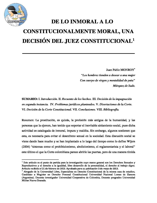 DE LO INMORAL A LO CONSTITUCIONALMENTE MORAL-UNA DECISIÓN DEL JUEZ DE CONTROL. Juan Pablo Monroy.