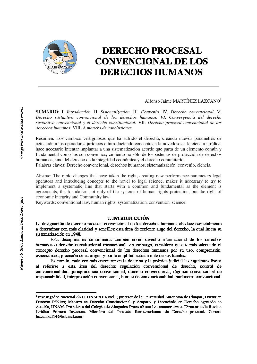 DERECHO PROCESAL CONVENCIONAL DE LOS DERECHOS HUMANOS. Alfonso Jaime Martínez Lazcano