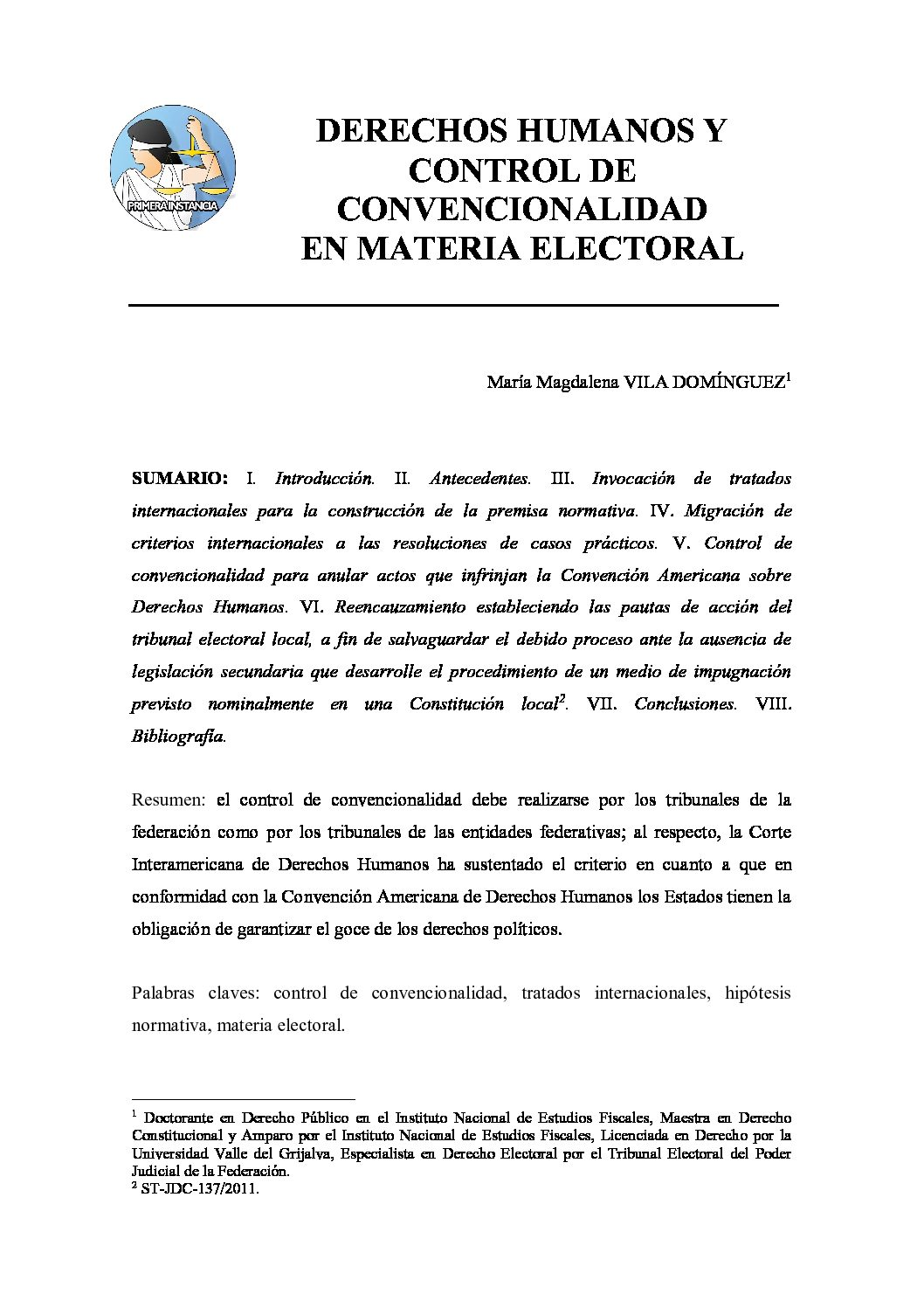 DERECHOS HUMANOS Y CONTROL DE CONVENCIONALIDAD EN MATERIA ELECTORAL, María Magdalena Vila Domínguez
