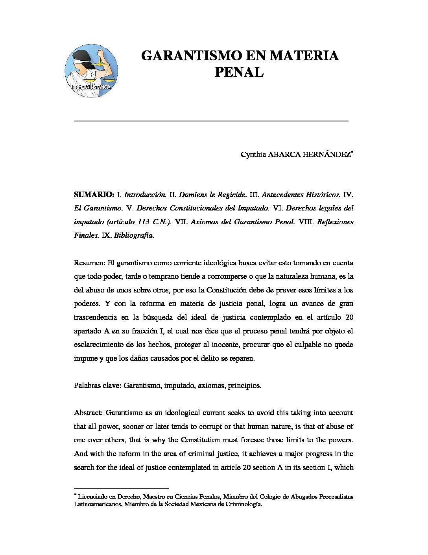 GARANTISMO EN MATERIA PENAL. Cynthia Abarca Hernández