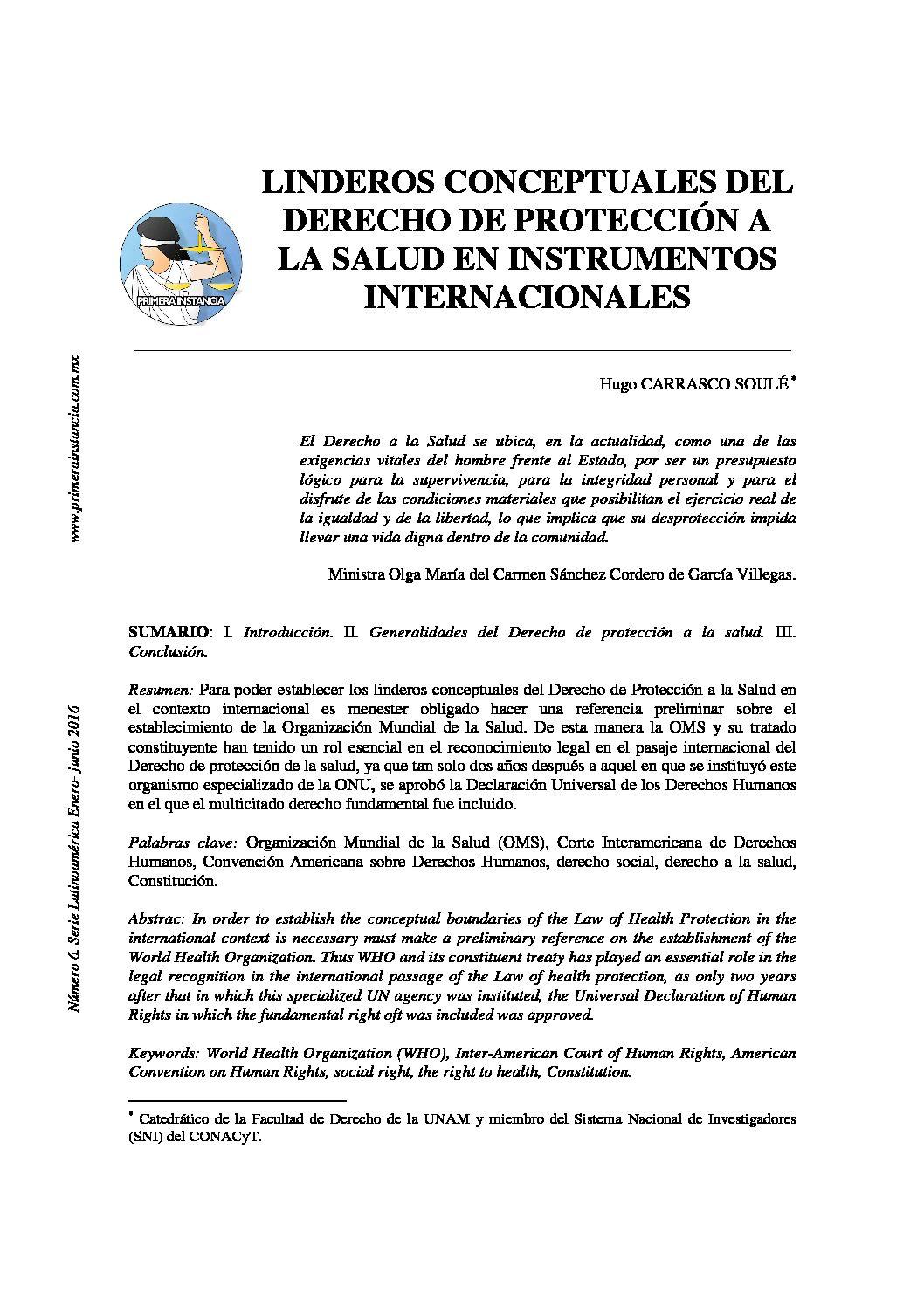 LINDEROS CONCEPTUALES DEL DERECHO DE PROTECCIÓN A LA SALUD EN INSTRUMENTOS INTERNACIONALES. Hugo Carrasco Soulé