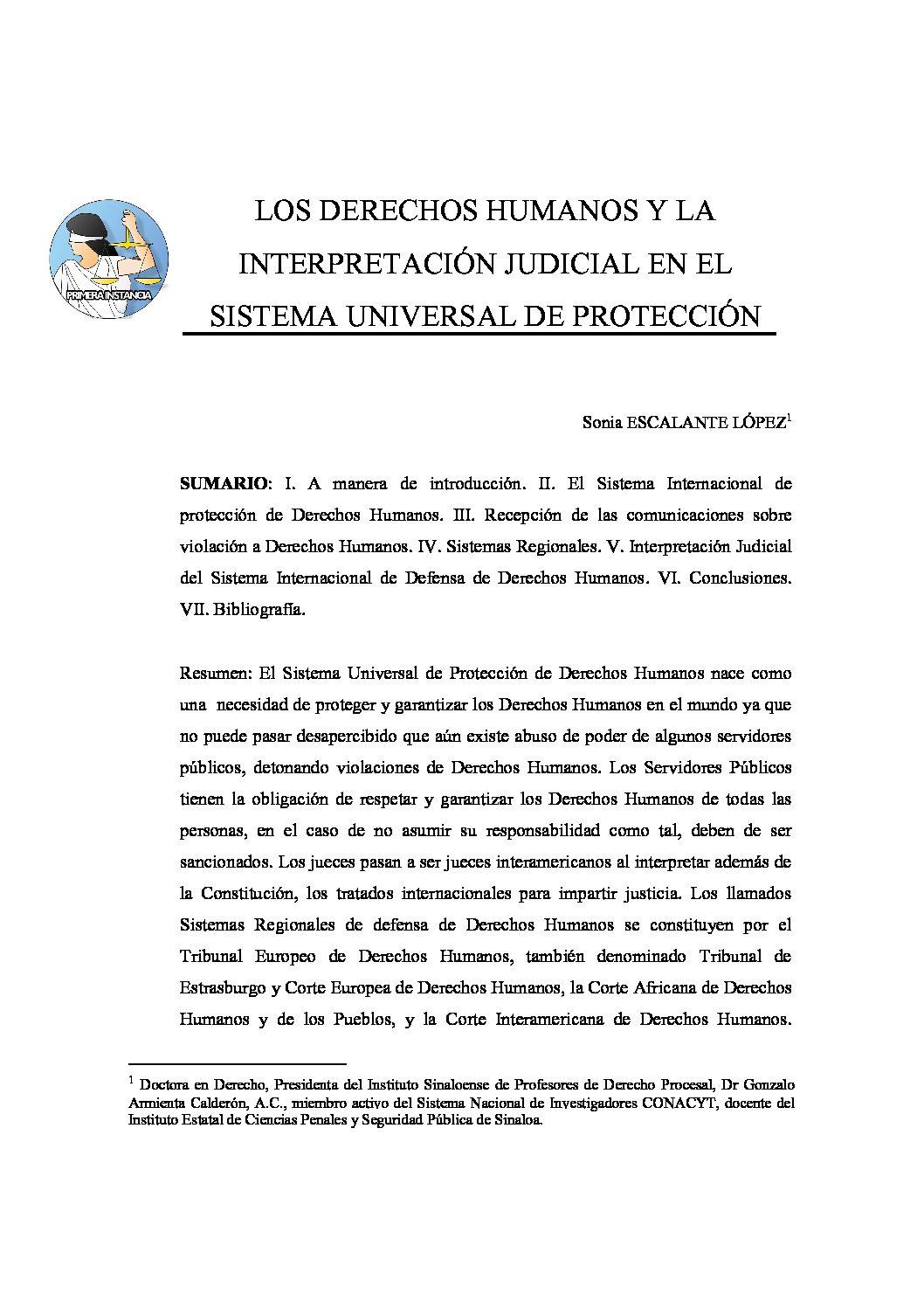 LOS DERECHOS HUMANOS Y LA INTERPRETACIÓN JUDICIAL EN EL SISTEMA UNIVERSAL DE PROTECCIÓN, Sonia Escalante López