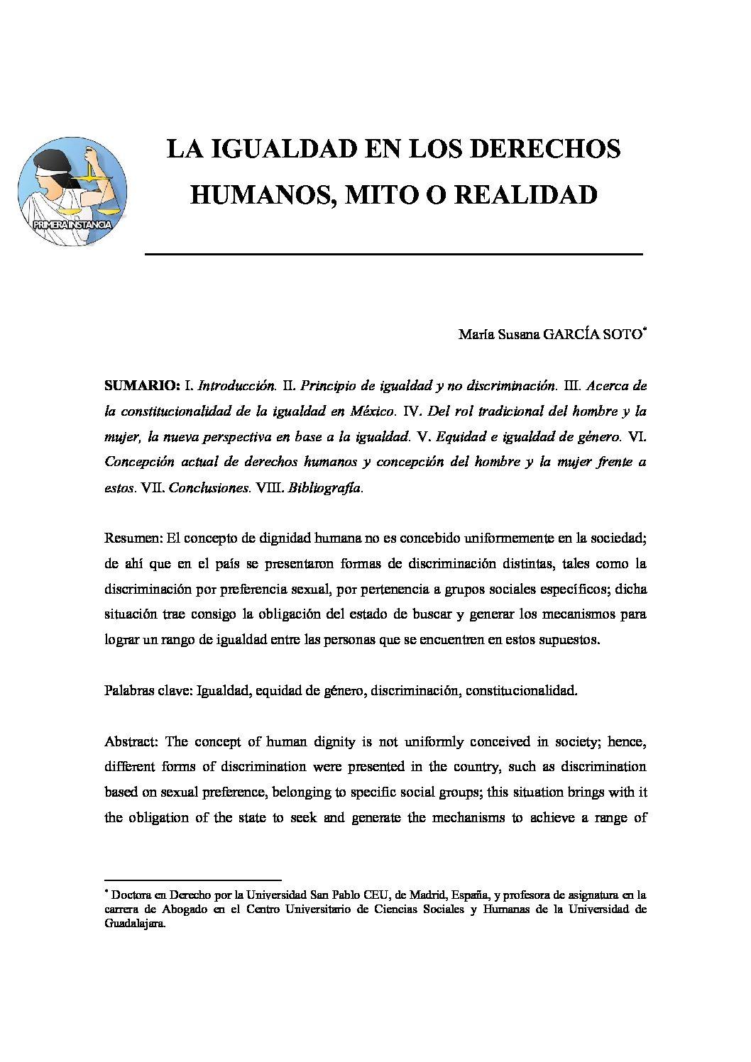 LA IGUALDAD EN LOS DERECHOS HUMANOS, MITO O REALIDAD, María Susana García Soto