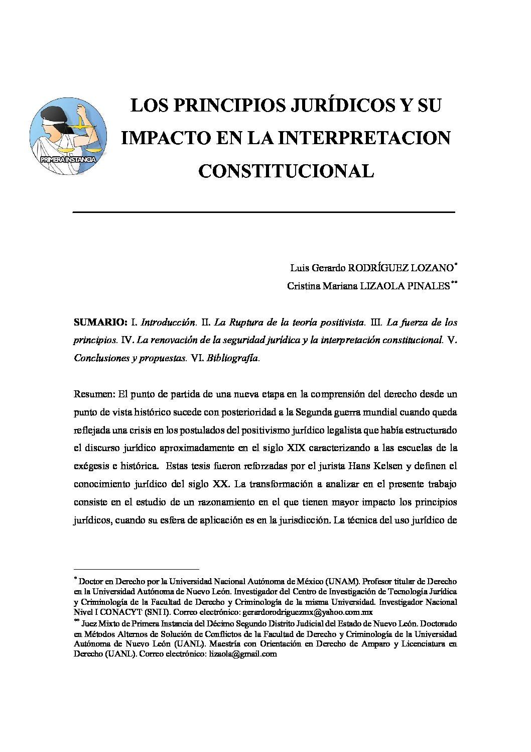 LOS PRINCIPIOS JURÍDICOS Y SU IMPACTO EN LA INTERPRETACION CONSTITUCIONAL, Luis Gerardo Rodríguez Lozano y Cristina Mariana Lizaola Pinales