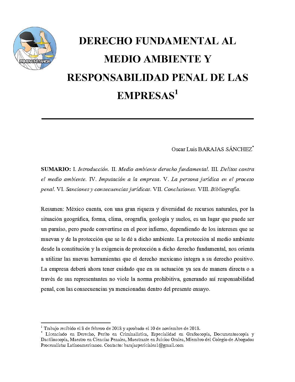 DERECHO FUNDAMENTAL AL MEDIO AMBIENTE Y RESPONSABILIDAD PENAL DE LAS EMPRESAS, Oscar Luis Barajas Sánchez
