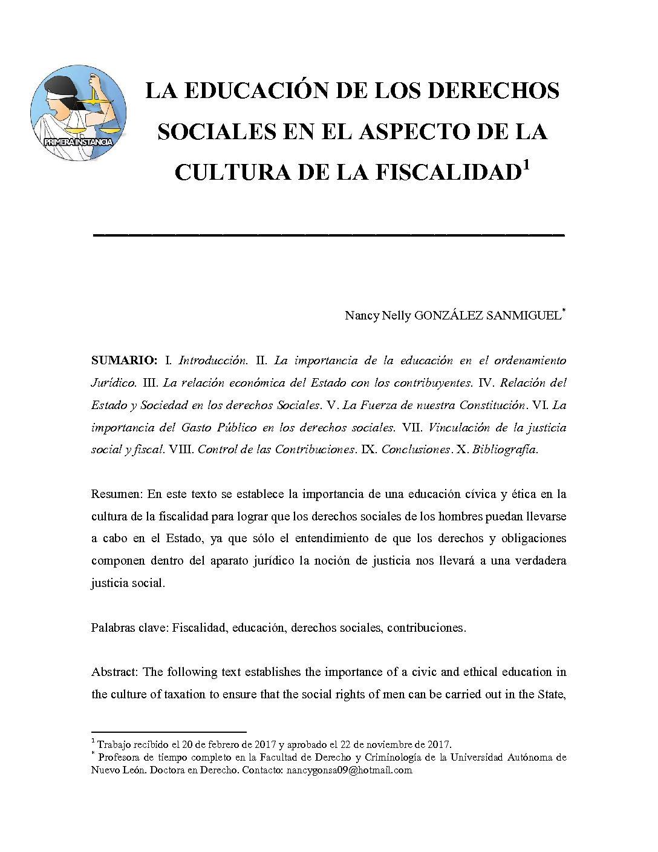 LA EDUCACIÓN DE LOS DERECHOS SOCIALES EN EL ASPECTO DE LA CULTURA DE LA FISCALIDAD, Nancy Nelly González Sanmiguel