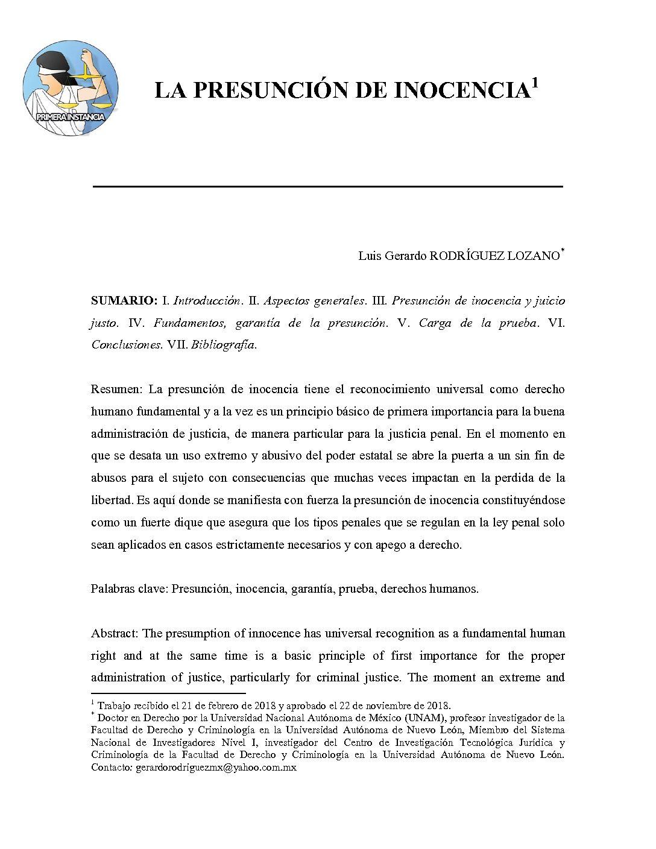LA PRESUNCIÓN DE INOCENCIA, Luis Gerardo Rodríguez Lozano
