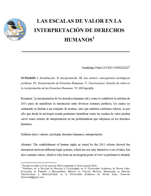 LAS ESCALAS DE VALOR EN LA INTERPRETACIÓN DE DERECHOS HUMANOS, Guadalupe Friné Lucho González