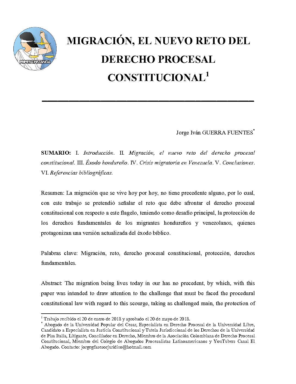 MIGRACIÓN EL NUEVO RETO DEL DERECHO PROCESAL CONSTITUCIONAL, Jorge Iván Guerra Fuentes