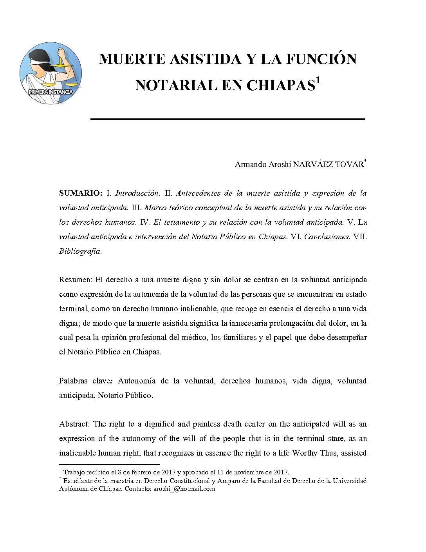 MUERTE ASISTIDA Y LA FUNCIÓN NOTARIAL EN CHIAPAS, Armando Aroshi Narvaéz Tovar