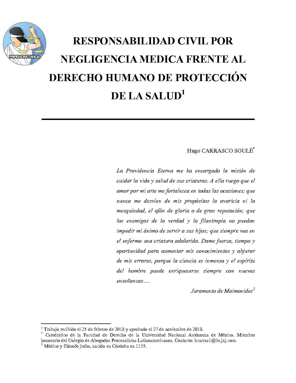RESPONSABILIDAD CIVIL POR NEGLIGENCIA MEDICA FRENTE AL DERECHO HUMANO DE PROTECCIÓN DE LA SALUD, Hugo Carrasco Soulé