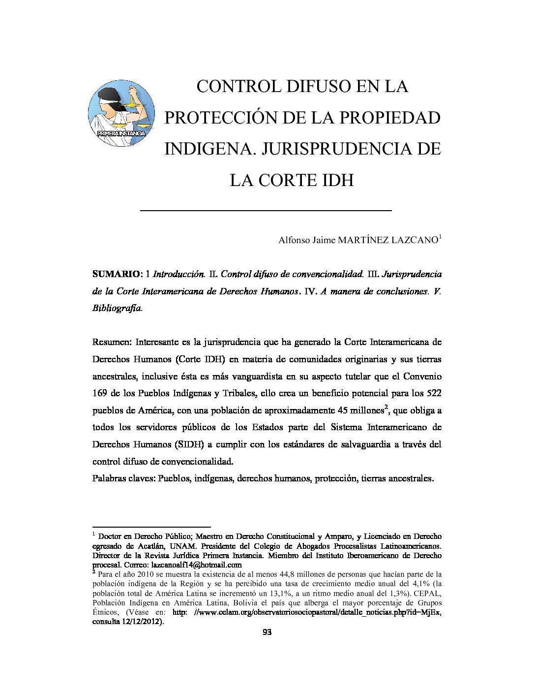 CONTROL DIFUSO EN LA PROTECCIÓN DE LA PROPIEDAD INDÍGENA. JURISPRUDENCIA DE LA CORTE IDH, Alfonso Jaime Martínez Lazcano