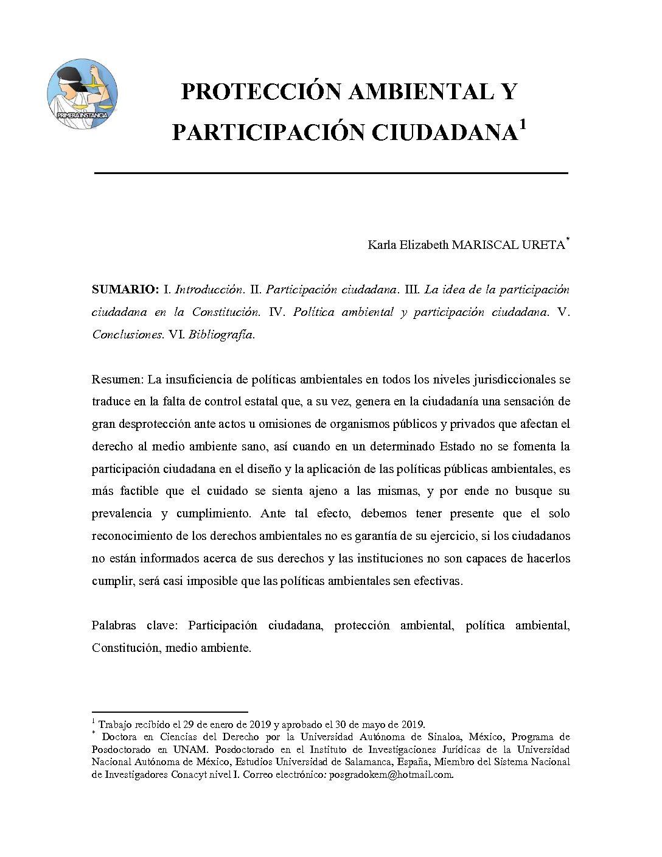 PROTECCIÓN AMBIENTAL Y PARTICIPACIÓN CIUDADANA, Karla Elizabeth Mariscal Ureta